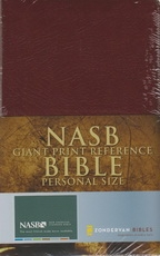 Giant Print Reference Personal Size Bible - NAS (burgundy, leather look)