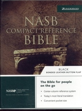 NASB - Compact Reference Bible (black, bonded leather with button flap)