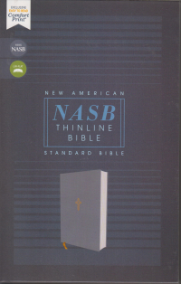 NASB Thinline Bible - Gray cloth over board