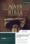 Giant Print Reference Personal Size Bible - NAS (burgundy, bonded leather)