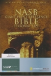 Giant Print Reference Personal Size Bible - NAS (black, bonded leather, thumb in